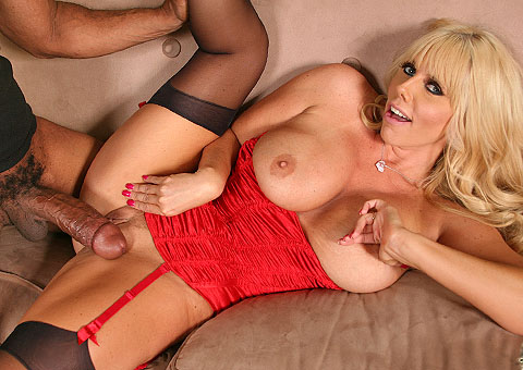Busty Karen Fisher Playing With A Long Black Shlong  from Blacks on Cougars